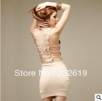 new fashion 2014 sexy hook flower hollow out bandage dress women / party evening dress vestidos skirt