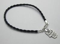 80Pcs Black Leatheroid Braided String Kabbalah Hand Charms Good Luck Bracelets SHL3026