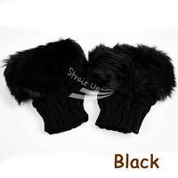 2014 Fashion Winter Arm Warmer Fingerless Gloves, Knitted Fur Trim Gloves Mitten 8226