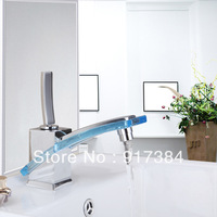 Blue Fashion Single Handle Stream Bathroom Vanity Sink Faucet  Large Rectangular Spout, Brass Deck Mounted Chrome L-8227-2