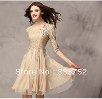 2014 Spring summer fashion women's Brief Dresses slim lace one-piece dress three quarter sleeve expansion bottom chiffon skirt 6
