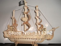 Free Shipping 3D Puzzle Wooden Toys Sea Ship Pirate Ship Robber DIY Building Model Kits Miniature Scale Model Gifts 45*15*35cm