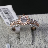 MZY White Gold Plated Zirconia Diamond Studded Flower Anniversary Ring R090