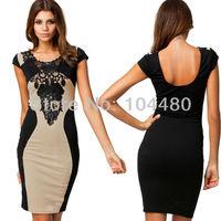 New Fashion M L Plus Size  Women Elegant Floral Embroidery Patchwork Bandage Dress Bodycon Casual Dress