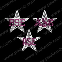 Free Shipping Wholesale 50Pcs/Lot  ASE Star Rhinestone Motif Design Custom Heat Transfers Wholesale Applique For Dress