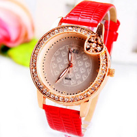Nice Red Ladies' Girls Women's Crystals Quartz Dress Analog Wrist Watch, Pretty Heart Dial