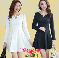 2013 autumn and winter women fashion diamond V-neck basic long-sleeve dress slim