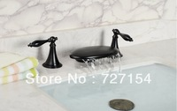 Vintage Style Oil-rubbed Brass Bronze Double Handles Bathroom tub Faucet