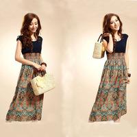 Bohemia Vintage summer cotton long dress ladies patchwork beach dresses free size print sleeveness chiffion dress new fashion