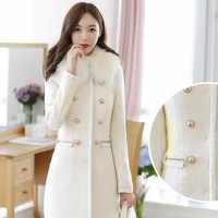 2014 Cardigans Winter Coat Autumn And Winter Fashion Elegant Women's Solid Color Outerwear High Quality Version Trench Slim Coat
