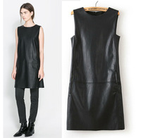 2014 fashion new spring and autumn  Europe / America women's PU leather dress pockets design black leather dresses for women