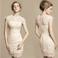 2013 fashion New ready to ship in store sheath top neck white cocktail dresses with lace free shipping