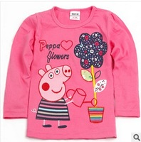 Retail Wholesale peppa pig 2014 New Fashion children's clothing girls long sleeve T-shirt Spring Autumn O-Neck cotton Tees L408