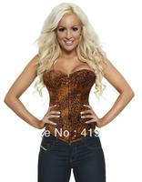 CL4013 Sexy Overbust Steel Boned Bustier Corselet Leopard Print Women Hot Shapers S M L XL