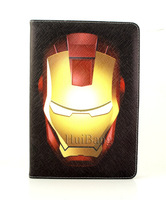 Free Shipping Super Hero Iron Man Captain America Flip Stand Book Leather Cases Smart Cover For Apple Ipad Mini Defender 07202