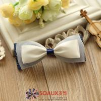 Silk yarn bow hair accessory hairpin blue preppy style hair accessory 1269