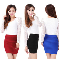 new fashion summer spring pleated skirt women Package Hip skirt hight waist lady sexy short skirts above knee mini