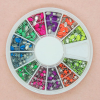 N111 10pcs/lot Hot !!!  Sprinkles Nail Art 6 Colors/Two Styles  Mix Wheel Packing Nail Art Gems Rhinestones Deco Glitters design