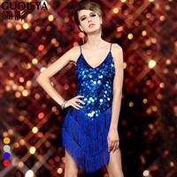 Free shipping ladies Ball tassel costume,ballroom dress latin,night club dresses women,latin dance dress,4 colors