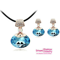 2014 new arrival High quality Vlentine`s Day Love Gifts Crystal Heart Pendant Necklace+earrings, fashion jewelry set, 4663