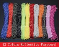 Reflective Paracord 550 Paracord Parachute Cord Lanyard Rope 7 Strand 100 FT 100pcs