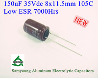 2013New Original 150uF 35V 20% 8X11.5mm Radial 3.5mm 640mA 7000h 105C Low ESR Aluminum Electrolytic Capacitors 1000pcs/Bag Stock