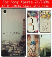 24 Species pattern LICHI GRAIN black side cover case for Sony Xperia Z1 case Sony Xperia Z1 cover l39h case cover
