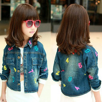 Clothing female child long-sleeve outerwear 2013 autumn girl denim cardigan 2 - 8 i