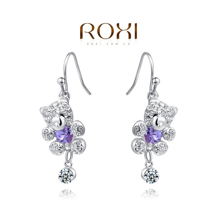 ROXI brand honey bear earrings fashion white gold plated earrings for women set with AAA zircon
