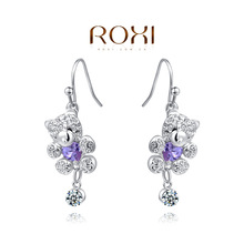 ROXI brand honey bear earrings,fashion white gold plated earrings for women,set with AAA zircon,factory price