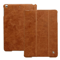 Luxury Genuine Leather case for Apple for iPad Air 5 Jisoncase tablet PC newest design brown genuine leather Magnetic Case