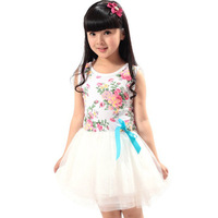 4pcs/lot girl summer white foral bowknot veil dress,1007