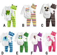 New hot baby boy girls long sleeve clothing set baby 3pcs set children clothes set hat+romper+pant for spring wear