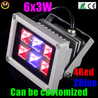 Hot sales 2014 New 18W 6X3W LED Coral Reef Plant Grow Flood Light Fish Tank Aquarium 4Red 2Blue Free Shipping