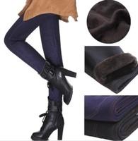 Plus Size Spring 2014 Winter Thicken Fur Women Warm Pants Trousers Casual Slim Leggings Women Pocket Denim Leggings Pants 2074