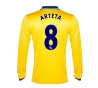 New 13/14 Arsenal Away Long Sleeve Jerseys #8 Arteta Yellow Shirt Football kit 2013-14 Cheap Soccer Unforms free shipping