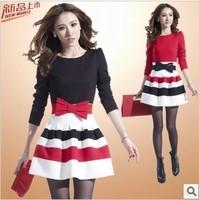 Women's elegant slim gentlewomen with stripes puff autumn and winter long-sleeve one piece dress