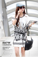 free shipping new 2014  black white with the belt clothing set sexy fashion novelty lace shirt casual ice silk for women blouses
