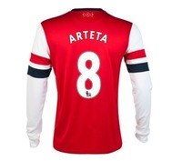 New 13/14 Arsenal Home Long Sleeve Jerseys #8 Arteta Red Shirt Football kit 2013-14 Cheap Soccer Unforms free shipping