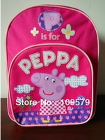 factory price free shiping1pcs peppa pig children's school bags backpacks schoolbag Backpack peppa pig 30*25*9,best gift to kids