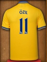 New 13-14 arsenal Away Jerseys #11 Ozil yellow Shirt Football kit 2013-14 Cheap Soccer Unforms free shipping