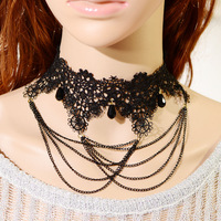 N3129 Charm necklace tassels lace necklace vintage necklace free shipping
