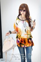 free shipping new 2014 half sleeve flower printed with the belt clothing set sexy T-shirt casual ice silk women blouses novelty