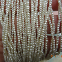 Free shipping 5 strings/pack 1-2mm very small Round Pearl Strands Good Luster Freshwater Pearl Strings