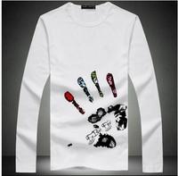 discount cotton long sleeve t shirt men casual fitness shirt letter print t-shirt