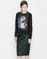 2014 new winter sports personality European style women pattern sweater ; brand print Hoodies sweatshirts