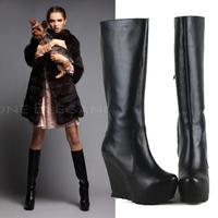 Side zipper ultra high heels wedges serrated platform genuine leather cowhide boots high-leg women's shoes boots b77