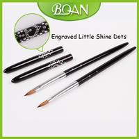 New Design 10pcs/ Lot Metal Handle Acrylic Kolinsky Nail Brushes Size 6