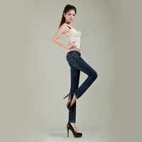 2014 spring new arrival women slim jeans female plus size women clothing high waist straight jeans women   3303