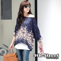 free shipping new 2014 Unique novelty purple flower printed  chiffon fashion design clothing set T-shirt casual women blouses